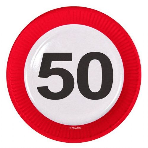 Traffic Sign 50th Party Plates 23cm 8's Birthday Tableware Disposable
